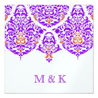 """Naranja púrpura fabuloso del damasco de 311 lunes invitación 5.25"""" x 5.25"""""""