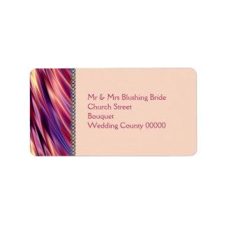 Naranja púrpura pálido cadena de plata etiqueta de dirección