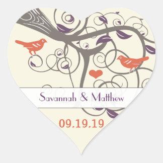 Naranja púrpura y sello gris del boda del árbol pegatina en forma de corazón