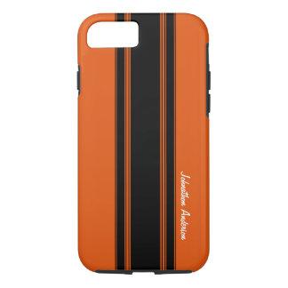 Naranja quemado moderno que compite con rayas con funda iPhone 7