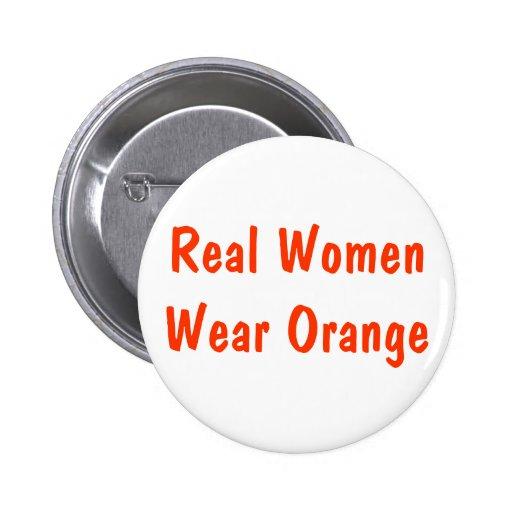 Naranja real de la ropa de mujer pin redondo de 2 pulgadas