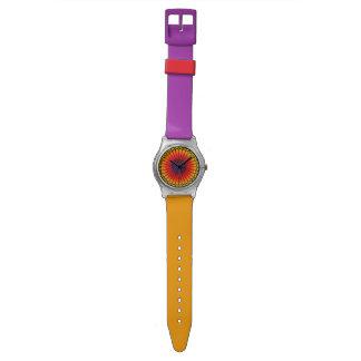 Naranja/reloj rojo/púrpura del vitral