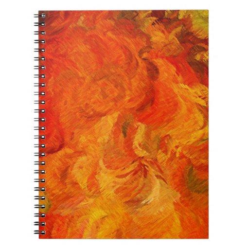 Naranja retro abstracto 3 de la pintura el | spiral notebook