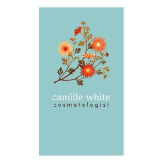 Naranja retro colorido y floral rojo tarjetas de visita