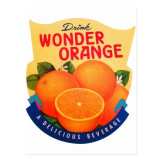 Naranja retro de la maravilla del anuncio del postal