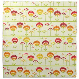 Naranja retro lindo del ir del jardín de flores servilletas imprimidas