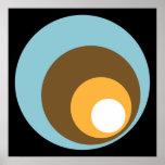 Naranja retro y blanco de Brown azul del negro de  Poster