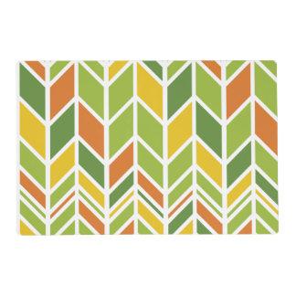 Naranja retro y verde Placemat del zigzag Salvamanteles