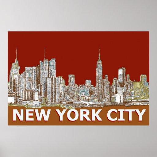 Naranja rojo del texto de NYC Poster