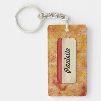 Naranja rojo personalizado etiquetado llavero rectangular acrílico a doble cara