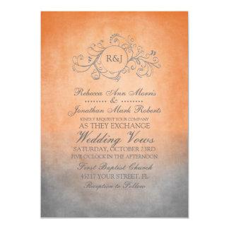 Naranja rústico e invitación bohemia gris del boda