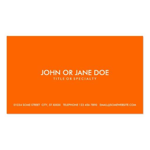 naranja simple tarjetas de visita