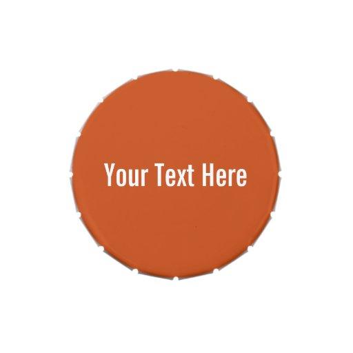 Naranja sólido su del texto lata de encargo del latas de caramelos