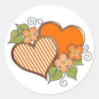 Naranja Stripes-002 Pegatina Redonda