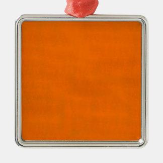 Naranja sucio adorno navideño cuadrado de metal