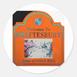 Naranja Torquise de Shaftesbury Pegatina Redonda
