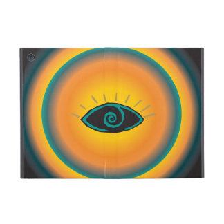 Naranja tribal antiguo del azul del diseño del ojo iPad mini cárcasas
