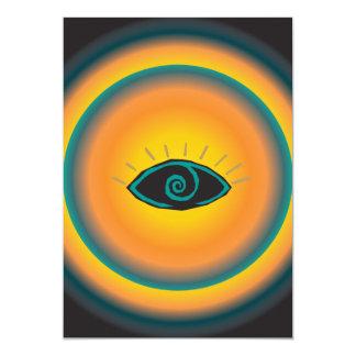 """Naranja tribal antiguo del azul del diseño del ojo invitación 5"""" x 7"""""""