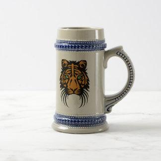 Naranja tribal del negro del tatuaje del tigre jarra de cerveza