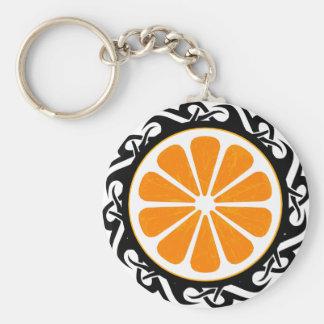 naranja. tribal llavero redondo tipo pin