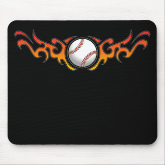 Naranja tribal Mousepad de las llamas del béisbol