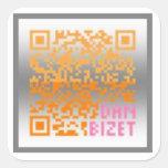 Naranja V01 del código de CDieM QR Pegatinas Cuadradas