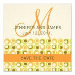 Naranja verde de marfil de la invitación de la invitación 13,3 cm x 13,3cm
