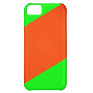 Naranja verde de neón de la raya vertical funda para iPhone 5C