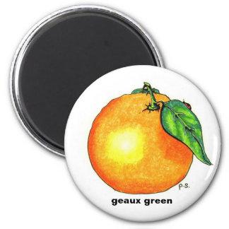 Naranja, verde del geaux imán redondo 5 cm