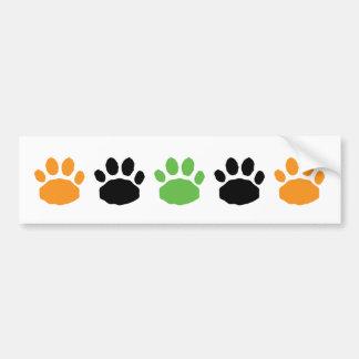 Naranja, verde, e impresiones animales de la pata pegatina para auto