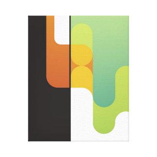 naranja verde geométrico del arte retro abstracto  lona estirada galerias