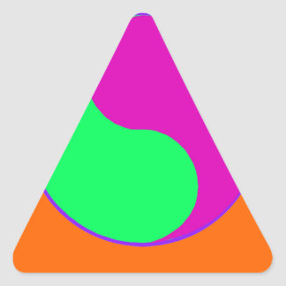 Naranja vibrante de la magenta del triángulo de pegatina triangular
