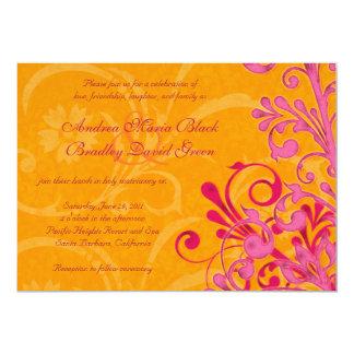 Naranja vibrante e invitación floral rosada del