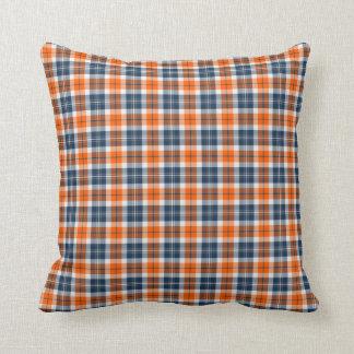 Naranja y almohada de tiro deportiva azul del cuad