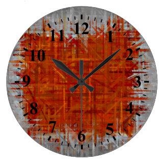Naranja y arte abstracto gris que pintan 4 reloj redondo grande