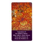 Naranja y arte pop moderno floral púrpura etiquetas de envío