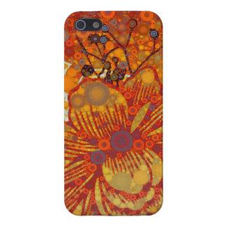 Naranja y arte pop moderno floral púrpura iPhone 5 carcasa