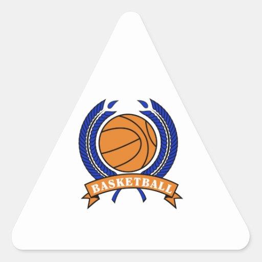 naranja y azul del emblema del laurel del balonces calcomanía de triangulo