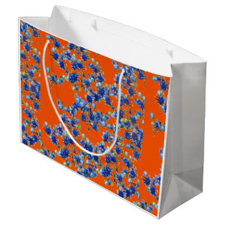 Naranja y azul del Hydrangea Bolsa De Regalo Grande