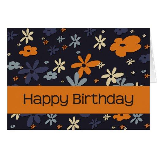 Naranja y azul • Tarjeta de cumpleaños