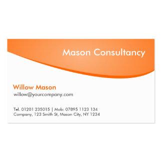 Naranja y blanco curvados, tarjeta de visita profe