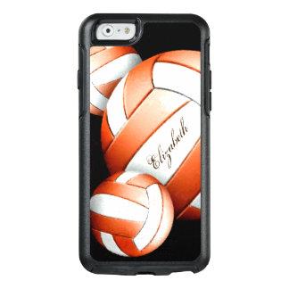 Naranja y blanco del voleibol de las mujeres en funda otterbox para iPhone 6/6s