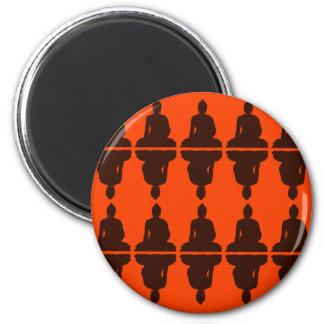 Naranja y Brown Buda Imán Redondo 5 Cm