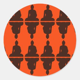 Naranja y Brown Buda Etiquetas Redondas