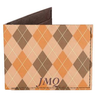 Naranja y cartera plegable de Brown Argyle Billeteras Tyvek®