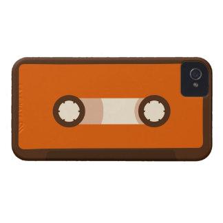 Naranja y cinta de casete retra de Brown iPhone 4 Funda
