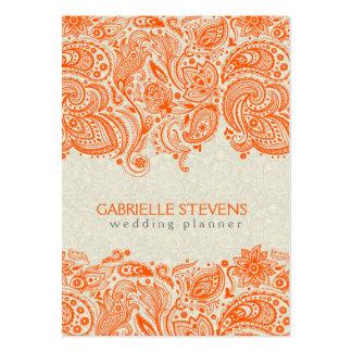 Naranja y cordón floral beige de Paisley Tarjetas De Visita Grandes