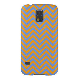 Naranja y Cornflower raya azul de Chevron o de los Carcasas De Galaxy S5