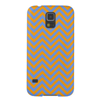 Naranja y Cornflower raya azul de Chevron o de los Funda Para Galaxy S5