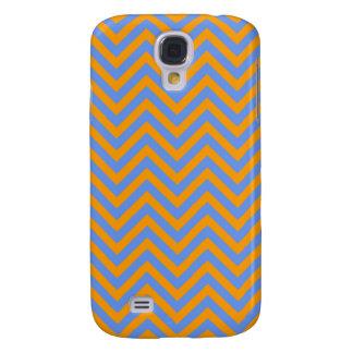Naranja y Cornflower raya azul de Chevron o de los Funda Samsung S4
